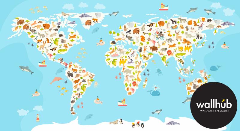 ... Mural Wallpaper World Map 01 ...