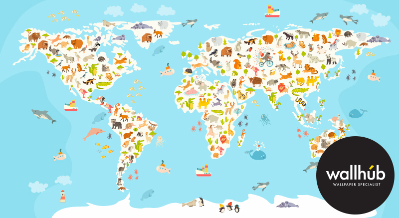 World map wallpaper mural for best free home design for Home wallpaper world map