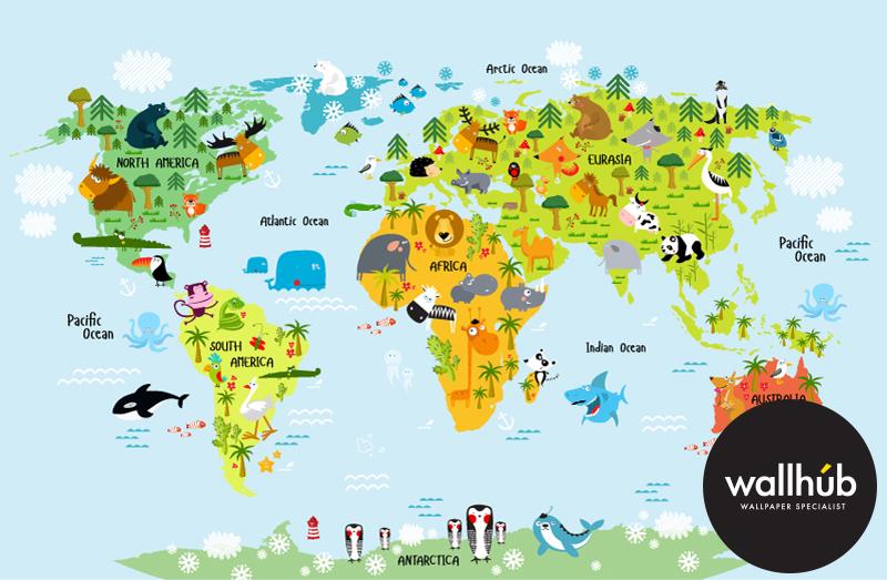 World Map Mural Wallhub - World map wallpaper south africa